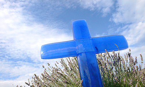 Large cross in coloured glass for a path, cemetery or church