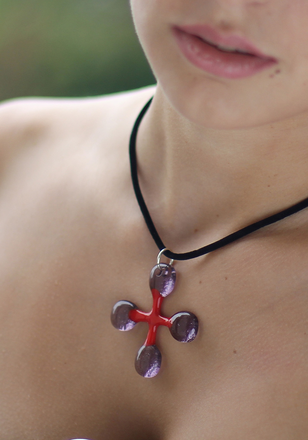 red and purple glass jewelry cross