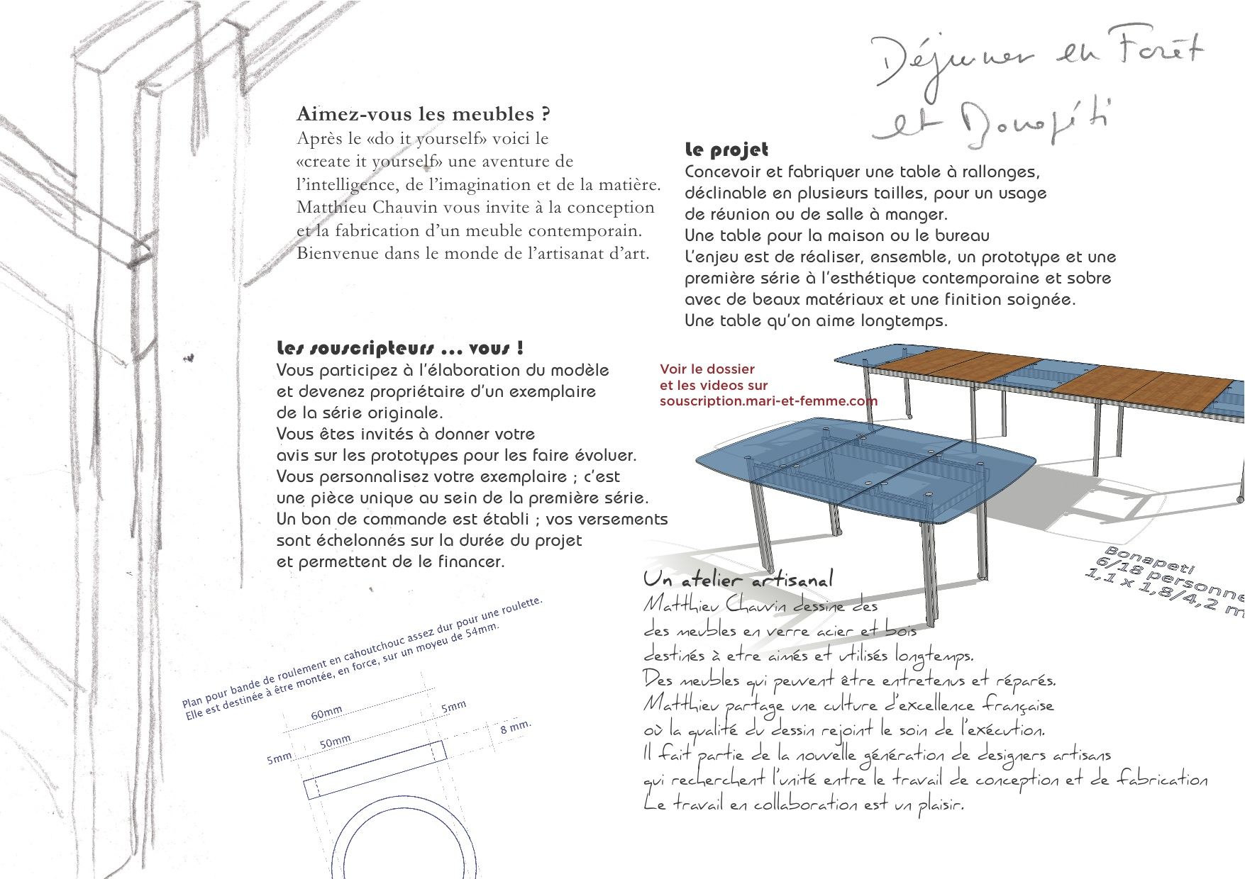 Dining table design drawing