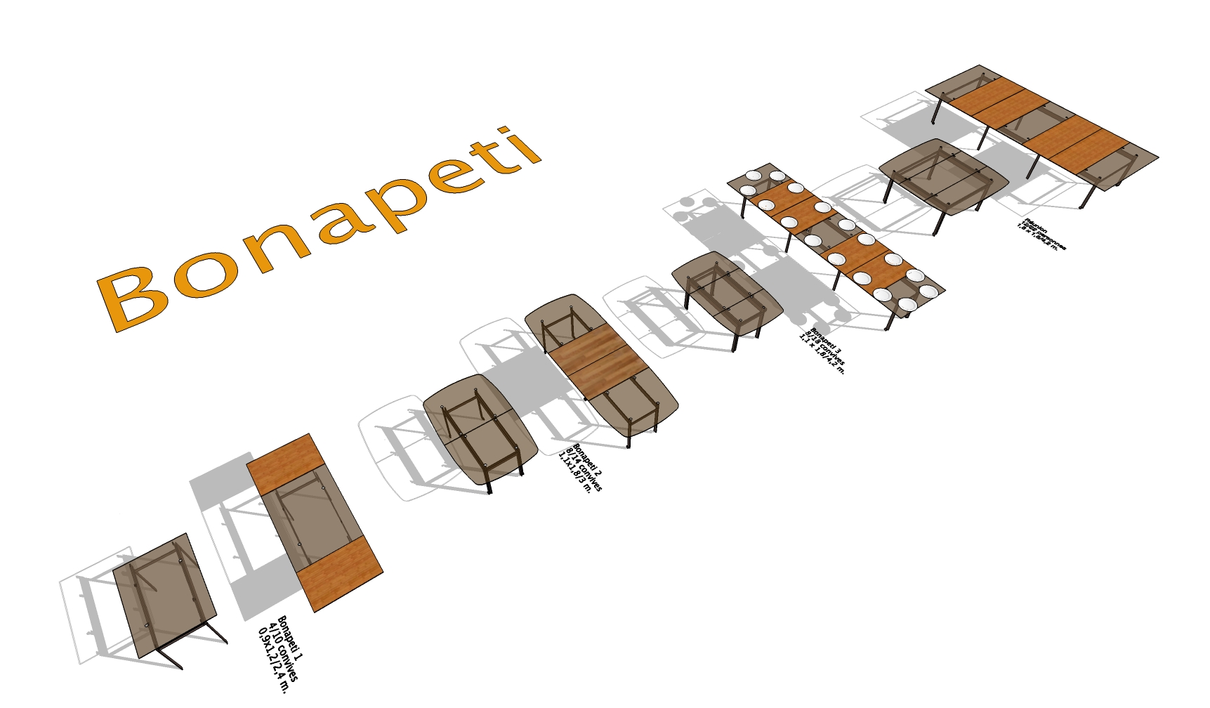 Collection of the 5 versions of the BONAPETI extensible table